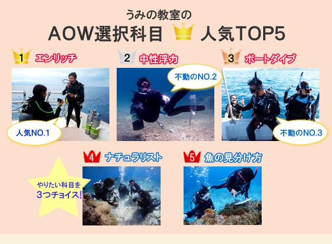 PADIアドバンス選択科目人気ベスト3のイメージ写真