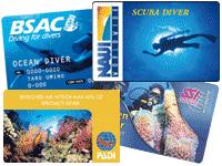 各ダイビング指導団体のライセンスカード