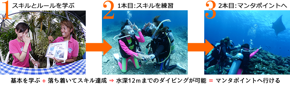 体験ダイビングでマンタポイントへ挑戦する流れを写真と図で紹介