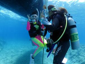 ダイビングボートの潜降ロープ