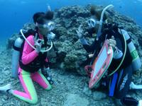 水中でサインを交換するPADIインストラクターと講習生